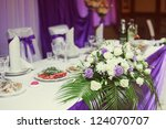 decorated wedding table in the... | Shutterstock . vector #124070707