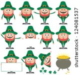 leprechaun set  leprechaun in... | Shutterstock .eps vector #124081537