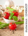 bowl of fresh cherry tomatoes - stock photo