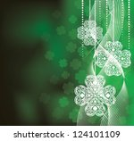 St. Patrick's Day  background in green colors with clovers. - stock vector