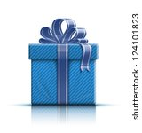 Blue Gift Box With Ribbon And...