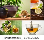 Collage of healthy green tea no. 1 - stock photo