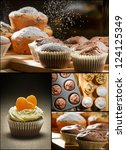 Collage of different types of muffins no. 2 - stock photo