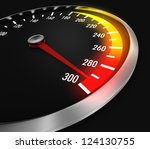 speedometer with needle near the max (3d render) - stock photo