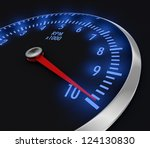 speedometer with rpm, with needle near the max (3d render) - stock photo