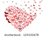 red butterfly flying heart - stock vector
