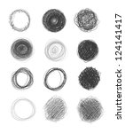 set of hand drawn circles ... | Shutterstock .eps vector #124141417