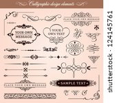 Vector Set: Calligraphic Design Elements, Borders and Page Decoration - stock vector