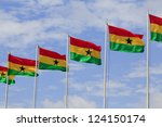 Ghana flags at Independence square - stock photo