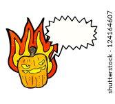 cartoon flaming pumpkin | Shutterstock .eps vector #124164607