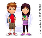 boy   girl image of boy and...   Shutterstock .eps vector #124168207
