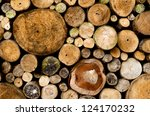 stacked wood cut background - stock photo