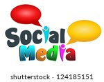 An illustration of colorful social media icon. - stock photo