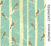 seamless pattern with birches...