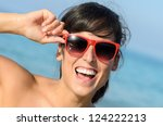happy summer vacation girl.... | Shutterstock . vector #124222213
