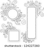 hand drawn frames with swirls   Shutterstock .eps vector #124227283