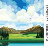 Vector summer landscape with green flowering field, forest, mountains and lake on a blue cloudy sky background with birds. - stock vector