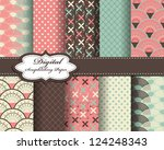 set of vector pattern paper for ... | Shutterstock .eps vector #124248343