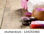 spa lavender salt set on the... | Shutterstock . vector #124252483