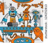 seamless pattern cartoon robots ...   Shutterstock .eps vector #124252813