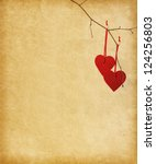 two red hearts  hanging on a... | Shutterstock . vector #124256803
