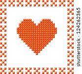 Valentine's Day Love Heart in Pixel Blocks - stock vector