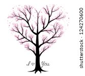 Love tree, heart shaped - stock vector