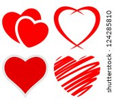 Set of red hearts on a white background. Vector. - stock vector