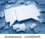 Blank Speech Bubble on Dark Blue Background. - stock photo