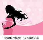 Silhouette of a pregnant woman on the pink background. - stock vector