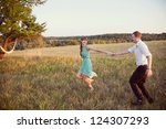 couple in love in the park at... | Shutterstock . vector #124307293