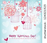 Beautiful greeting card for Valentine's day - stock vector