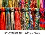 Rows Of Colourful Silk Scarfs...