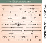 Set of 30 vector calligraphic design elements and page decoration, dividers and dashes - stock vector