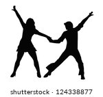 dancing couple silhouette in...