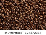 roasted brown coffee beans  can ... | Shutterstock . vector #124372387