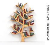 tree of knowledge. bookshelf on ... | Shutterstock . vector #124374037
