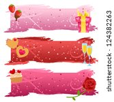 Set of cute pink valentine banners - stock vector