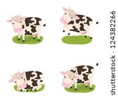 Set of for cute vector cows in different poses - stock vector