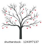 Tree of red Hearts hanging on the branches - stock vector