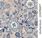 vector floral seamless pattern | Shutterstock .eps vector #124398697