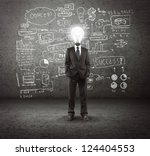 bulb headed man and business plan concept on wall - stock photo
