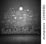 drawing concept city on concrete wall - stock photo