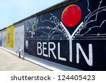 Stock photo berlin august east side gallery berlin graffiti on august in berlin it is a km 124405423