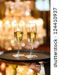 waiter served champagne glasses ... | Shutterstock . vector #124410937