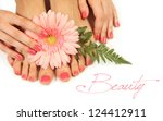 Beautiful pink manicure and pedicure - stock photo