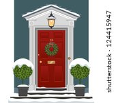 door. traditional georgian red... | Shutterstock .eps vector #124415947