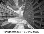 city skyscrapers  fisheye... | Shutterstock . vector #124425007