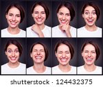 set of attractive happy woman over dark background - stock photo