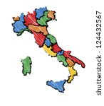 sketch vector map of italy in cold colors with hand drawn stroke - stock vector